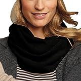 Parisbonbon Women's 100% Cashmere Solid Infinity Scarf Color Black One Size