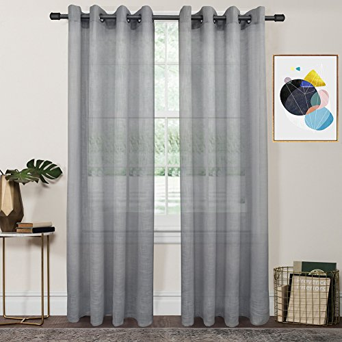 FY Fiber House Woven Sheer Voile Window Curtains with Grommet Panels for Living Room, 2 Panels,54 by (Tailored Grommet Panel)