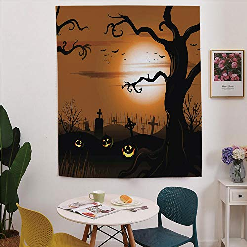 Halloween Decorations Blackout Window curtain,Free Punching Magic Stickers Curtain,Leafless Creepy Tree with Twiggy Branches at Night in Cemetery Graphic,for Living Room,study, kitchen, dormitory, -