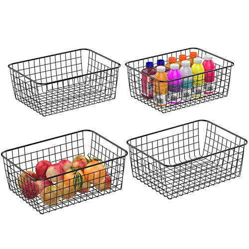 Warmfill Wire Basket, 4 Pack Wire Baskets for Storage Durable Metal Basket Pantry Organizer Storage Bin Baskets for…