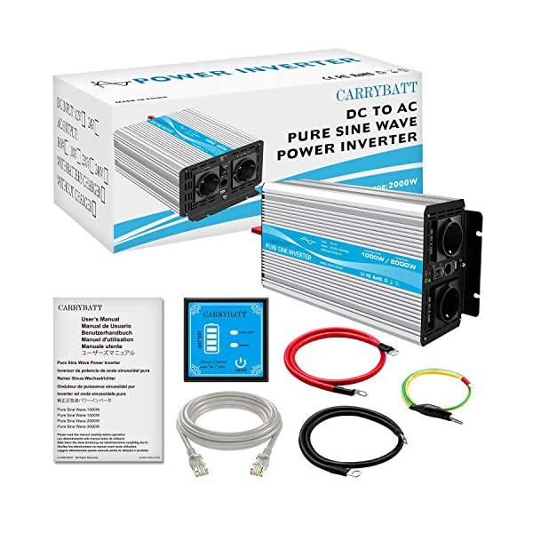 51KMTKDkjPL CARRYBATT 1000W kfz Spannungswandler Wechselrichter Reiner Sinus 12V auf 230V-inkl.5 Meter Fernsteuerung-2-EU-AC…