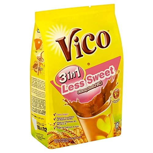 7 Pack Vico 3 in 1 Less Sweet Chocolate Malt Drink (7 x 15 sachets) Free Express Delivery by VICO (Image #1)