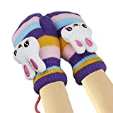 Kids Girls Boys Winter Warm Thicken Knitted Gloves Cute Cartoon Rabbit Soft Fleece Lining Wool Knit Outdoor Cycling Ski Gloves Mittens Warmer (with String), Christmas New Year Gift Purple