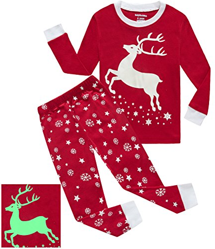 Girls Pajamas Reindeer Glow-in-the-dark Kids Pjs 100% Cotton Toddler Clothes Shirts Size (Girls Size 12 Christmas Pajamas)