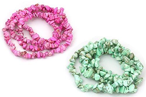 Howelite Turquoise Bead 33 inch Strands, 2 Pack, Irregular 5-13mm (1/8-1/2 inch), 0.7mm Hole (Fuchsia/Light Green) -