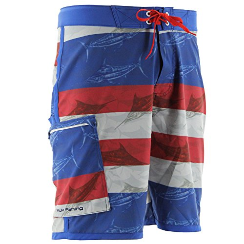 HUK Performance Fishing Huk Men's KC Scott Blue Marlin USA Board Short, Royal, (Blue Marlin Fishing)