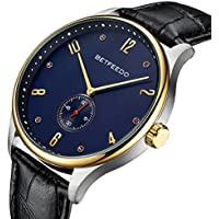 BETFEEDO Luxury Men's Wrist Watch, Genuine Leather Watch Band - 44mm Analog Watch - Japanese Quartz Movement