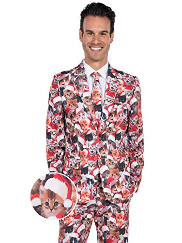 Men's Cat Christmas Suit - Meowy Catmus Funny Cat Ugly for sale  Delivered anywhere in USA