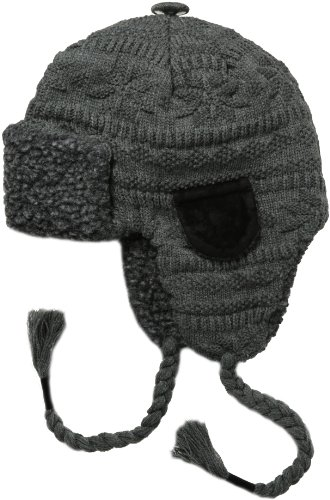MUK LUKS Mens Trapper Hat-Grey Fairsle, Fairlisle, One Size (Ears Hat Winter Man)