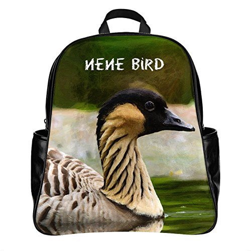 Customized US State Bird hawaii nene bird Backpack Schoolbag Outdoor Travel Bag Laptop Boys Girls PU Leather (Large)