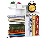 PAG Wood Desktop Bookshelf Assembled Countertop Bookcase Literature Holder Accessories Display Rack Office Supplies Desk Organizer, White