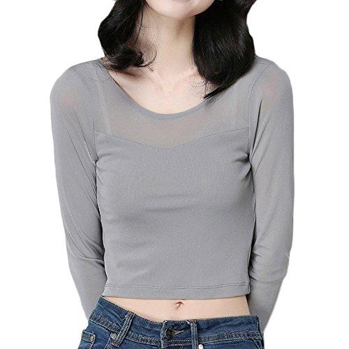 Bmeigo Mujer Gauze manga larga Bottoming Short tapas de la camisa -K15 Grey
