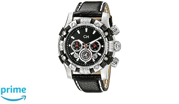 Carlo Monti Arezzo CM122-122 - Reloj cronógrafo de cuarzo para hombre, correa de cuero color negro (cronómetro): Amazon.es: Relojes
