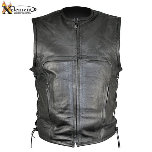 Xelement B95140 Mens Black Advanced Collarless Leather Motorcycle Vest - (Mens Advanced Xelement Motorcycle)