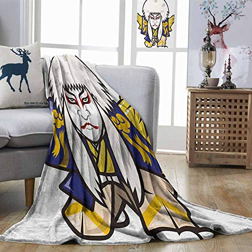Zmstroy Home Throw Blanket Kabuki Mask Character with Kimono Costume Orient Elements Edo Era Arts Theater Play Print Multicolor Lightweight Super Soft Comfort W40 -