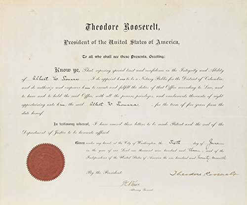 Theodore Roosevelt Signed 14.5x27 1903 Appointment Document BAS #A89669 - Department Justice Seal