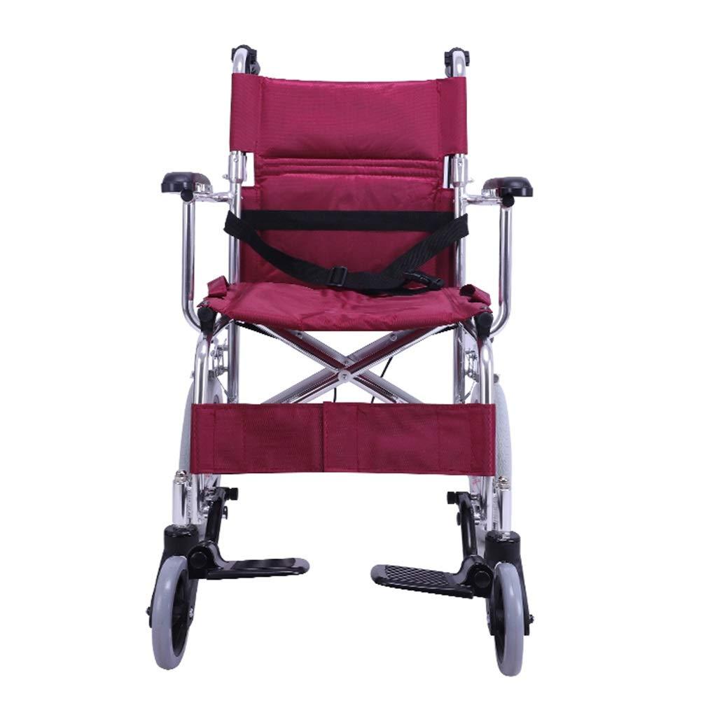 車いす 折りたたみ式車椅子携帯用超軽量車椅子高齢者用チェアアルミ製旅行車椅子高齢者用トロリー耐荷重100kg (Color : Red, Size : 90x43x81cm) 90x43x81cm Red B07QZHQPTN