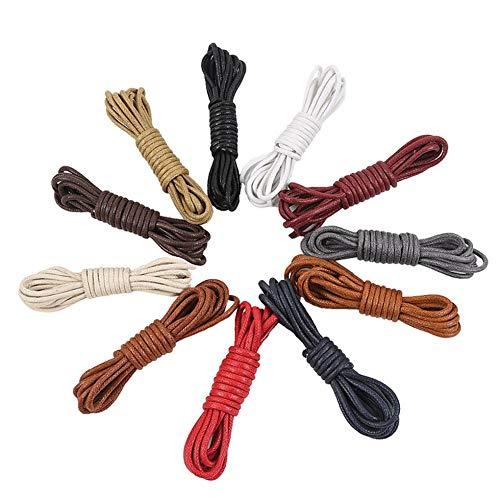 SEN Cordones Redondos y encerados para Zapatos Zapatos de Vestir Redondos Botas Cordones de Cuero Caqui 90cm