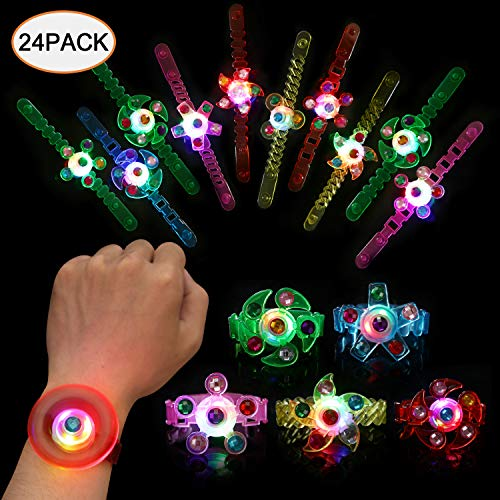 SCIONE Party Favors for Kids 24 Pack Light Up Bracelets Classroom Prizes Glow in The Dark Party Supplies Girls Boys Birthday Halloween Christmas Celebration Stocking Wristband LED Neon Toys Bulk -