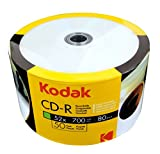 KODAK CD-R 52x 700MB 50-Value Pack, White Inkjet Printable