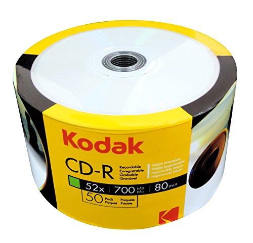 KODAK CD-R 52x 700MB 50-Value Pack, White Inkjet Printable by Kodak