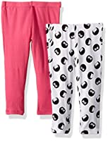 Flapdoodles Little Girls' 2 Pack Printed and Solid Legging, Hot Pink, 6X