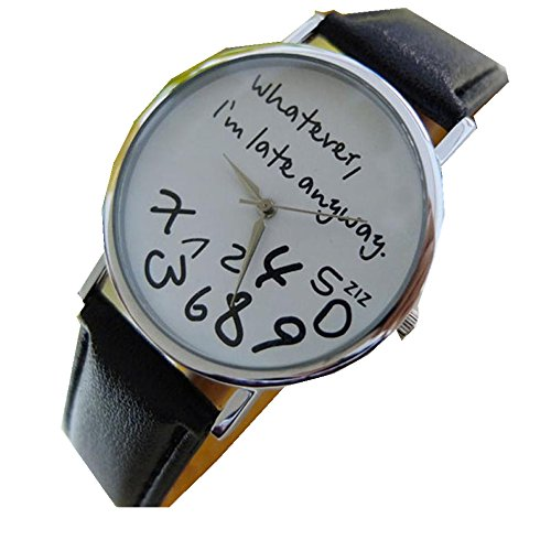 Women Leather Watch Whatever I am Late Anyway Letter Watches White - 8