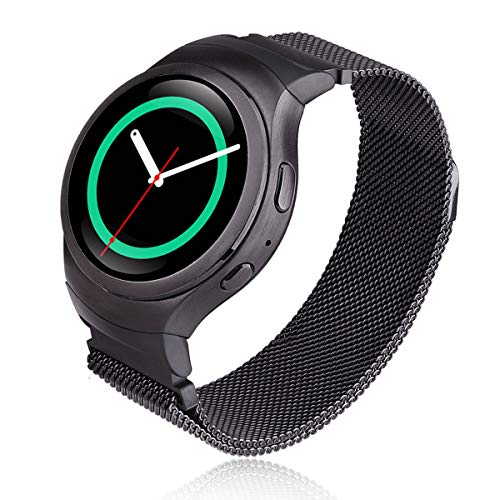 V-MORO Milanese Band Compatible with Gear S2 Bands Stainless Steel Metal Mesh Loop Magnetic Closure Clasp Bracelet Strap with Adapters for Samsung Gear S2 SmartWatch R720/R730 Space Gray 6.7-9.5