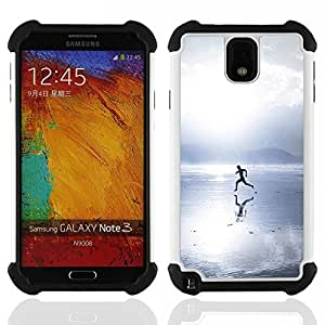 /Skull Market/ - Running Man in the beach For Samsung Galaxy Note3 N9000 N9008V N9009 - 3in1 h????brido prueba de choques de impacto resistente goma Combo pesada cubierta de la caja protec -