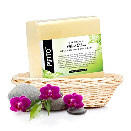 Pifito Premium Olive Oil Melt and Pour Soap Base (3 lb) - Natural Vegetable Glycerin Soap Base - Excellent Hand Soap Base Making Supplies