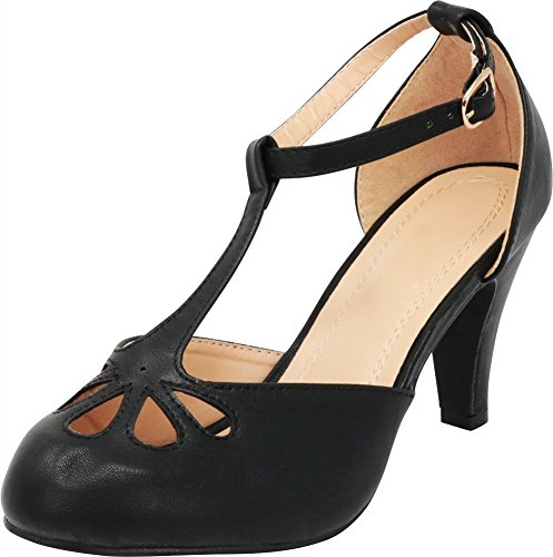Cambridge Select Women's Teardrop Cutout T- Strap Mary Jane Dress Pump (8 B(M) US, Black)