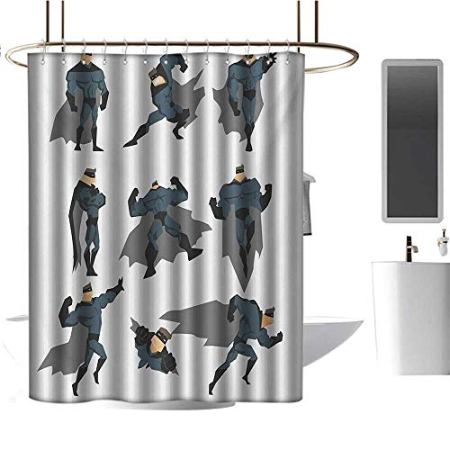 TimBeve Polyester Shower Curtain Superhero,Fun Cartoon Man in Costume Posing Hero Flying Running with Superpowers Art Print,White Grey,Print Polyester Fabric Bathroom Decor Sets with Hooks 54