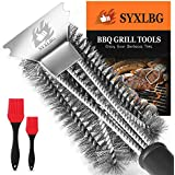 """Best BBQ Grill Brush and Scraper for Grill, Safe 18"""" Stainless Steel Woven Wire 3 in 1 Bristles Grill Cleaning Brush for Weber Grill, Extra Strong BBQ Cleaner,PP Handle BBQ Brush for Grill"""
