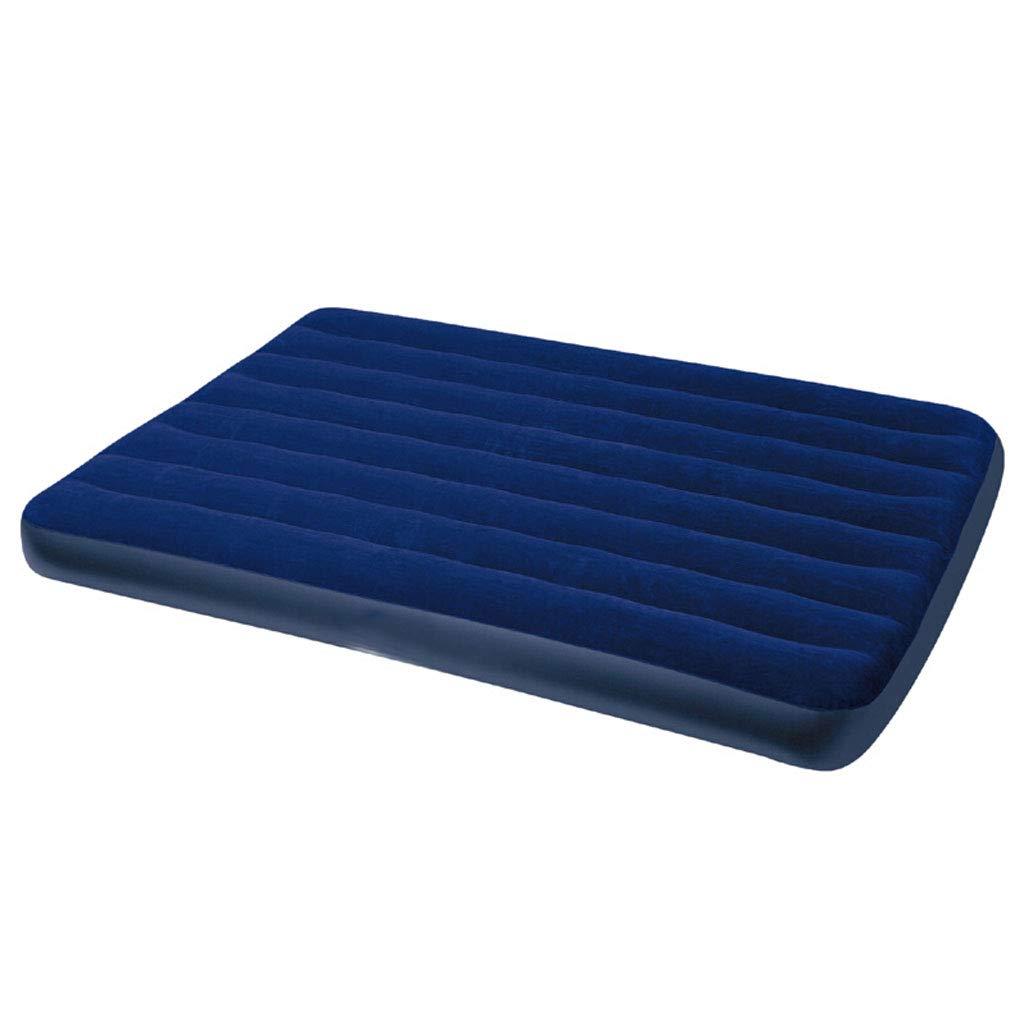 Premium Double Indoor Outdoor Camping Reise Luftbett Beflockte Luftmatratze, Aufblasbare Matratze, Erweiterte Couch, (Farbe  Blau, Größe  Twin)