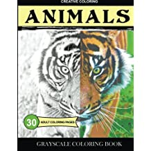 Grayscale Coloring Book: Animals: Adult Coloring Pages
