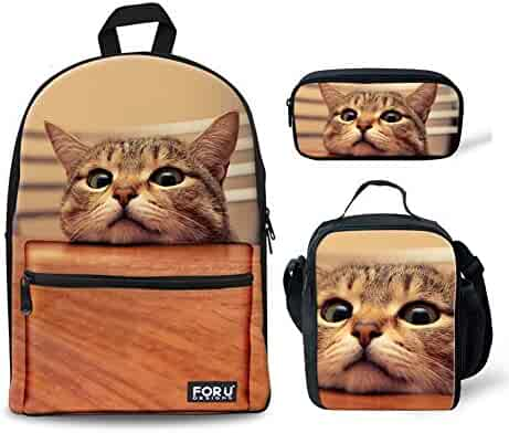 ac1cc20465 FOR U DESIGNS 3 Piece School Backpack Set Children Boys Girls Book Bags  with Kitten Cat