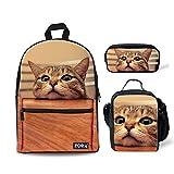 FOR U DESIGNS 3 Piece/Set Children School Bags + Pencil Case + Lunch Bags Kawaii Cat Pattern