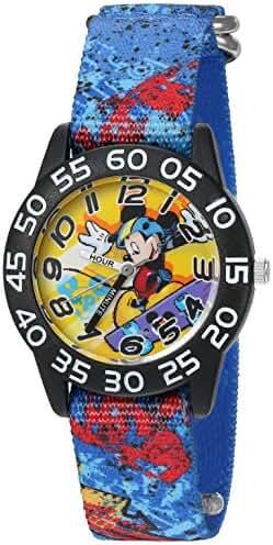 Disney Boy's 'Mickey Mouse' Quartz Plastic and Nylon Watch, Color:Blue (Model: W002997)