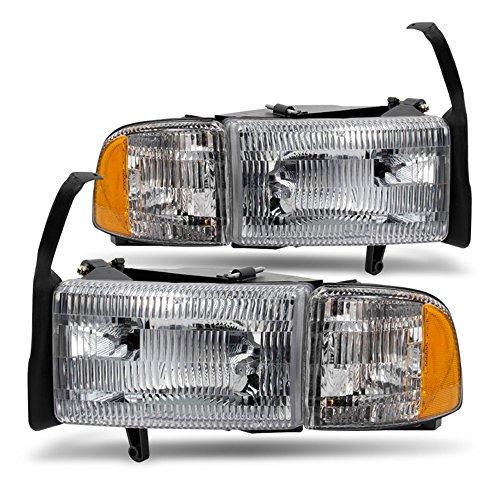 (ACANII - For 1994-2001 Dodge Ram 1500 2500 3500 Truck Headlights+Signal Corner Lamps Pair Set Driver + Passenger Side)
