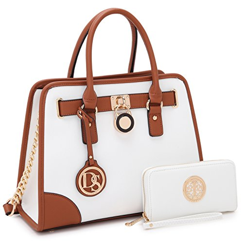 Medium Satchel 2 Pieces Purse Set Designer Handbag Top Handle Shoulder Bag Padlock White