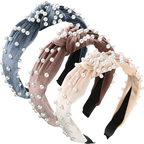 3 Pieces Pearls Headband Wide Hair Hoop Velvet Pearls Headband Vintage Twisted Headwear for Girl Woman Hair Accessories…