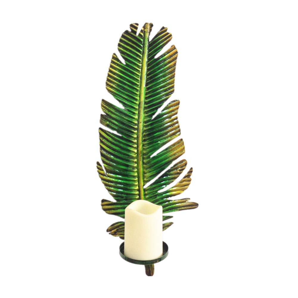 WANDERBAL Home Metal Banana Leaf Candle Holder Wall Hanging (4511.517.5cm)
