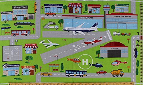 """23.5"""" X 42"""" Cotton Panel """"Connector Playmats"""" At the Airport Airplanes Airplane Kids Roadmaps Cotton Fabric Panel (21142-72)"""