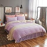 DGXSG Princess Style Bedding Set Comforter Set Supreme Plush Velvet Cotton Sweater and Microfiber Blend Duvet Cover Sets Hypoallergenic and Wrinkle Home Textiles Lilac Queen