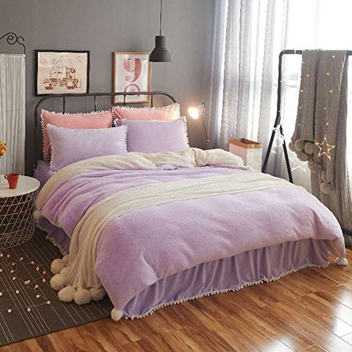 DGXSG Princess Style Bedding Set Comforter Set Supreme Plush Velvet Cotton Sweater and Microfiber Blend Duvet Cover Sets Hypoallergenic and Wrinkle Home Textiles Lilac Queen by DGXSG