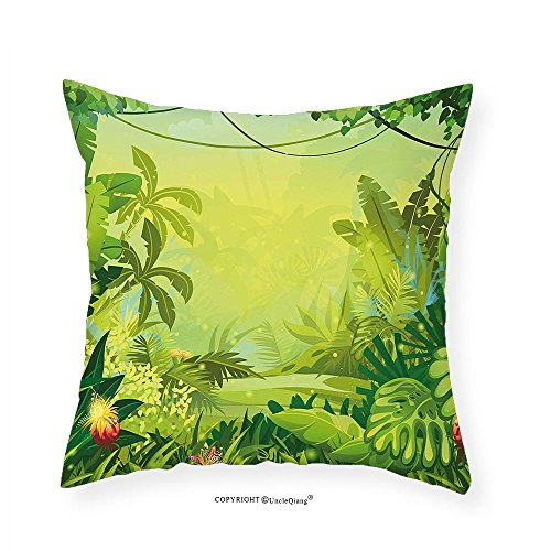 VROSELV Custom Cotton Linen Pillowcase Nature Jungle with Red Flowers and Large Tropical Plants Foliage Woodland Fern Illustration for Bedroom Living Room Dorm Lime Green 22