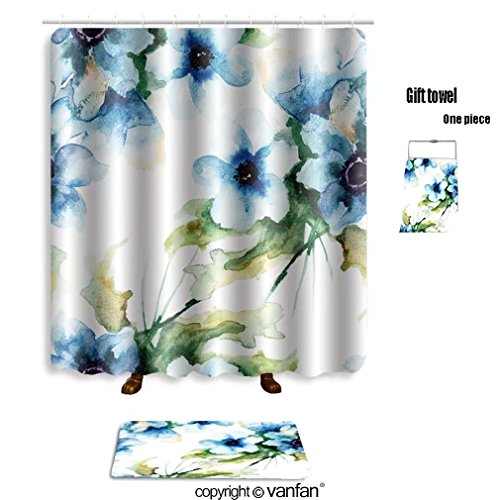 vanfan bath sets with Polyester rugs and shower curtain seamless wallpaper with summer blue flowers w shower curtains sets bathroom 54 x 78 inches&23.6 x 15.7 inches(Free 1 towel and 12 hooks)