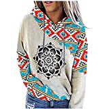 Womens Aztec Hoodie Geometric Print Sweater Hip-hop