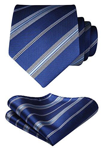 HISDERN Striped Wedding Tie Handkerchief Woven Classic Men's Necktie & Pocket Square Set Blue