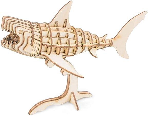 JXJ 3D Rompecabezas de Madera-Bricolaje Hecho a Mano Animal Pack ...